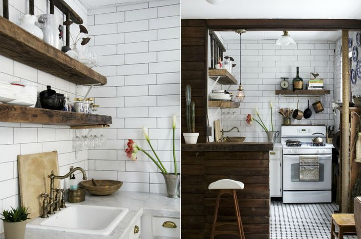 Vintage kitchen with reclaimed wood in the  New York apartment by Anthony D'Argenzio