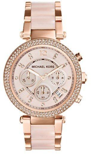 MICHAEL Michael Kors Michael Kors 'Parker' Blush Acetate Link Chronograph Watch, 39mm