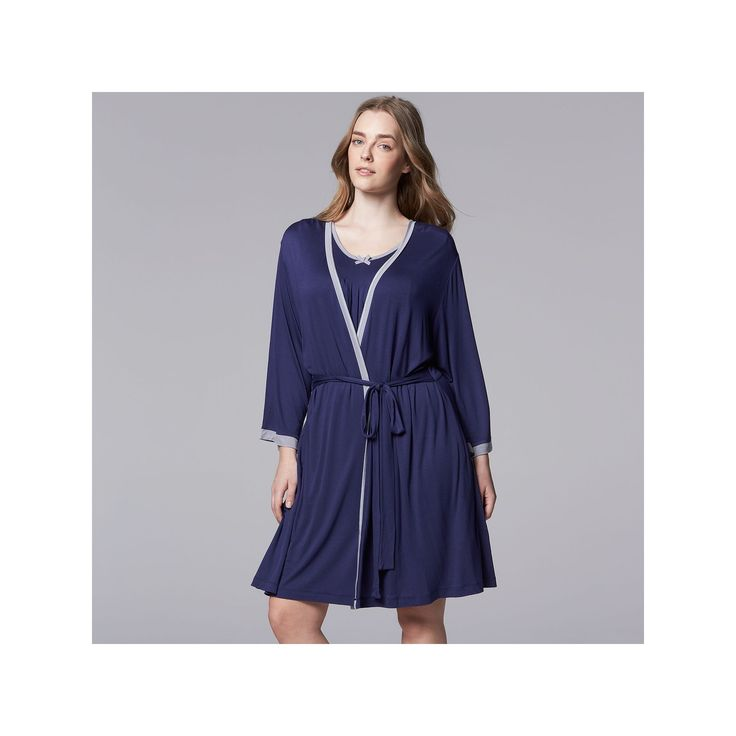 Plus Size Simply Vera Vera Wang Basic Luxury Wrap Robe, Women's, Size: 2XL, Blue
