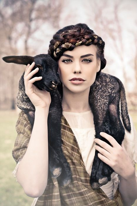The hair is fantastic. Yes, it probably is someone else's. And what a way to wear wool! ;) | Fashion photography
