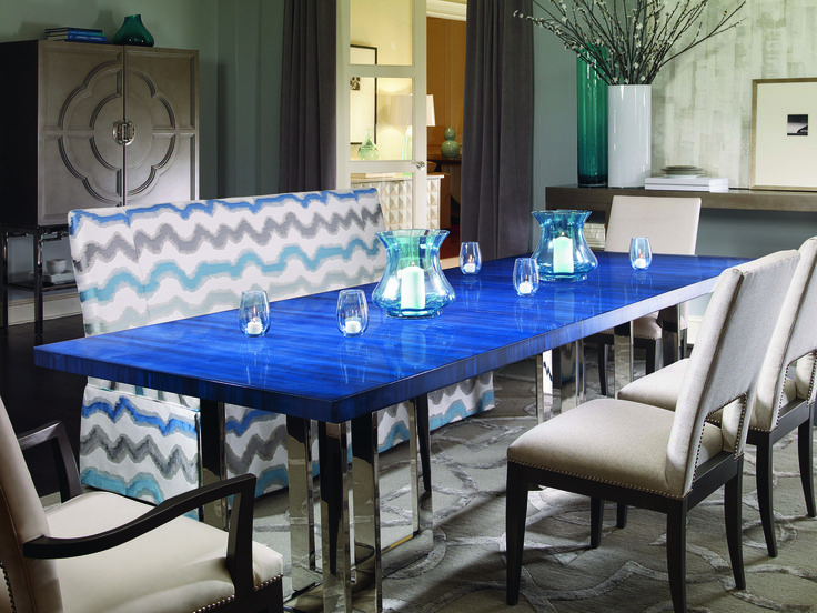 Makes A Bold Statement For This Blue Dining Room Table