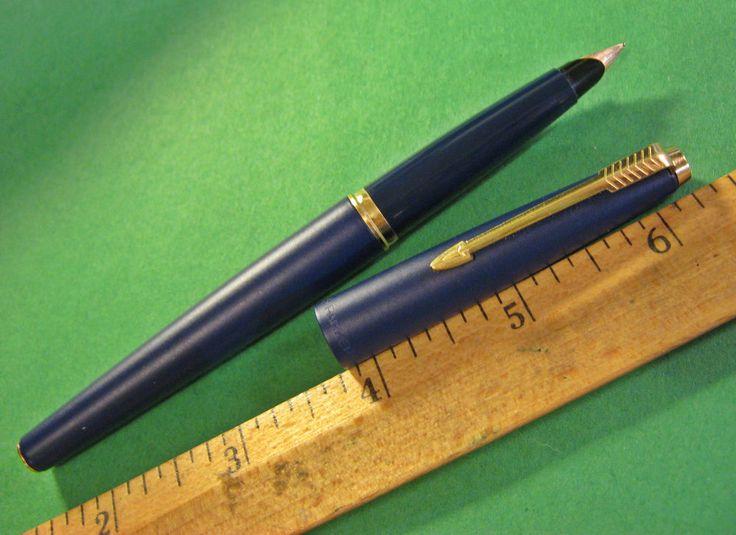 Parker 45 GT Blue Metal Body Fountain Pen 14K Gold Nib Fine Point Very Clean #Parker