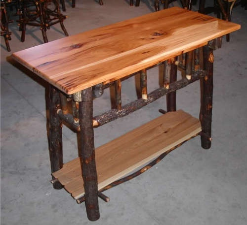 Amish Rustic Hickory Sofa Table Occasional Console Log Cabin Wood Furniture  New