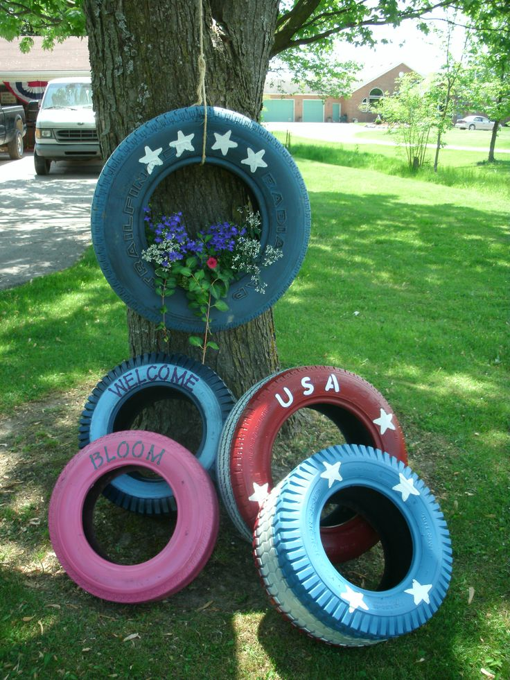 Painted tire planters summer inspiration pinterest - Painted tires for gardens ...