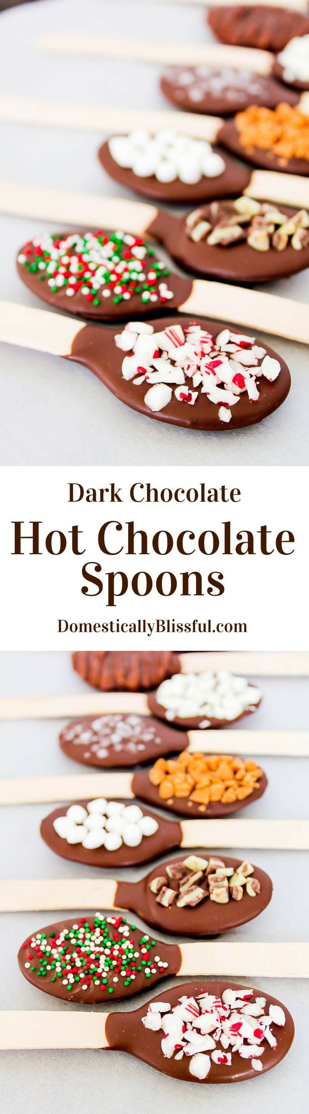 Dark Chocolate Hot Chocolate Spoons are the perfect flavor additions for hot chocolate, they make delicious Christmas presents, & are great for winter parties!