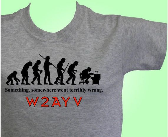 HAM RADIO Tee SHIRT  Custom Printed Evolution Logo & Callsign