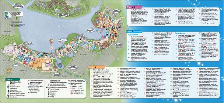 Backside of Downtown Disney brochure Disney Springs