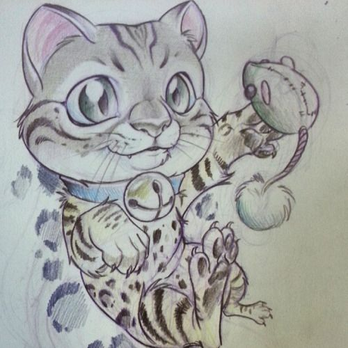 My bengal kitten qubit newschool sketch cat - Dessin new school ...