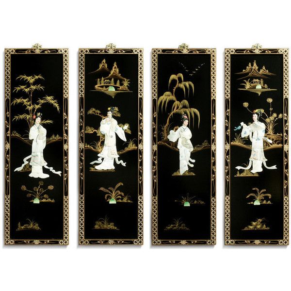Black Lacquer Wall Plaques with Mother Pearl - Asian - Wall Sculptures... ❤ liked on Polyvore featuring home, home decor, wall art, asian wall plaques, oriental wall art, black wall art, asian inspired home decor and asian wall art