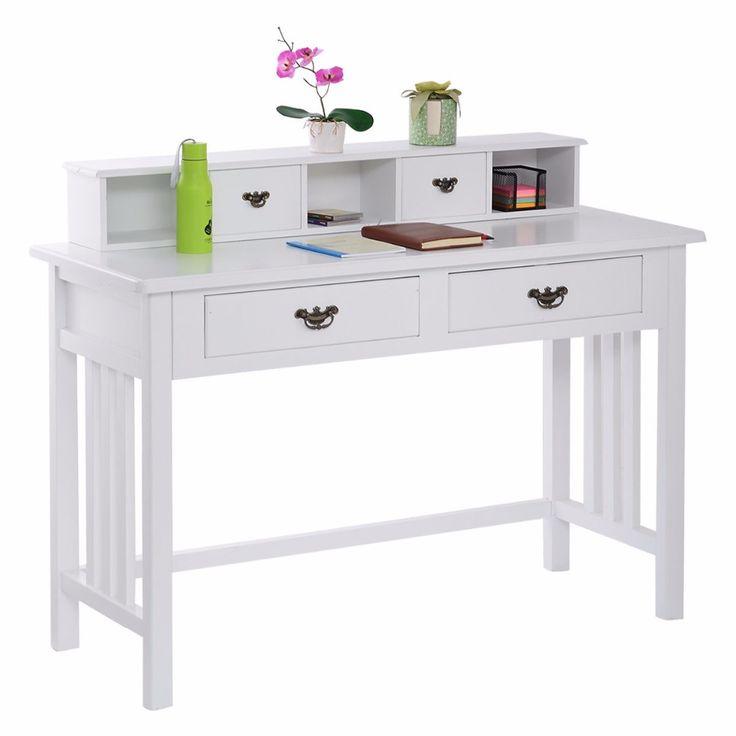 Meja tulis HW50202 Misi Putih Meja Komputer Rumah Kantor 4 Laci Putih +