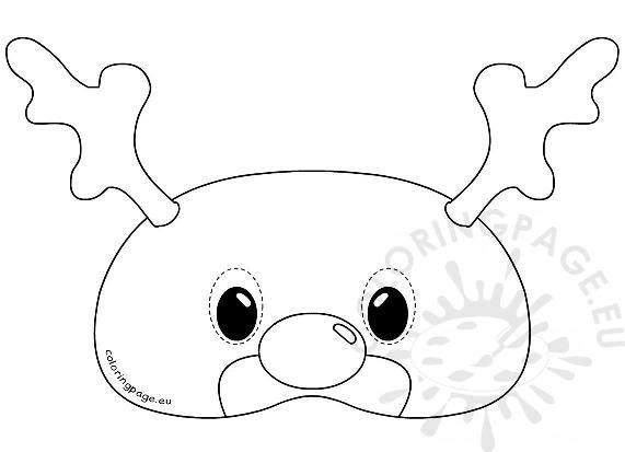 Felt Reindeer Mask Rudolph Template Coloring Page For Reindeer Mask Template Rudolph Coloring Pages Animal Mask Templates Paper Mask Making