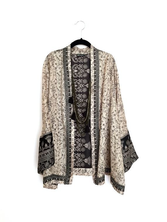 Silk Kimono jacket black and beige paisley indian by Bibiluxe