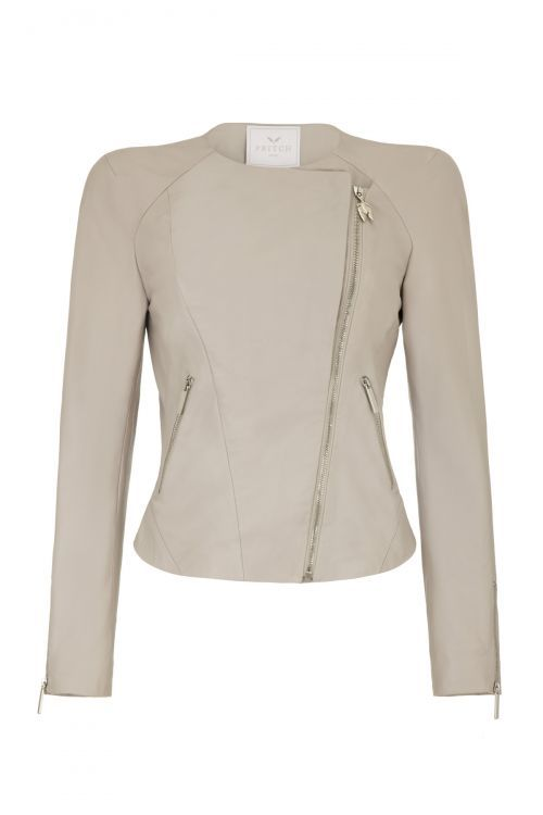 A leather biker jacket is a true wardrobe essential, and the Shotgun is an effortless spin on this classic. Cut in butter-soft light grey nappa leather, and complete with a removable suede caplet, this piece is finished with zips that emphasize its flattering silhouette. Wear together for a statement effect or alone for a cool, off-duty look.