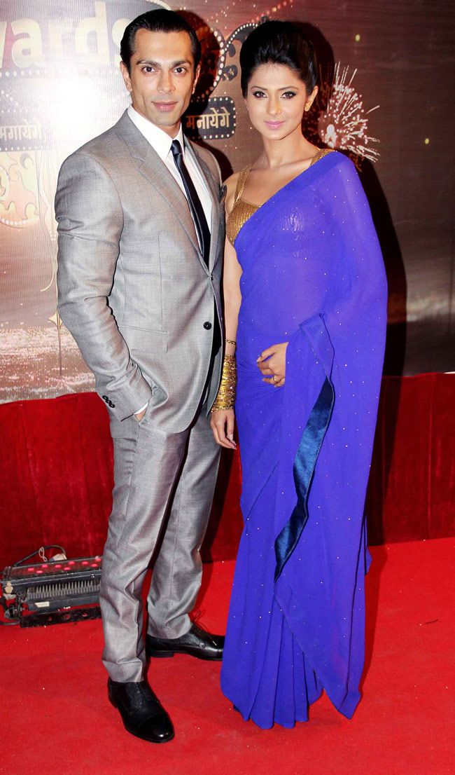 Karan Singh Grover and Jennifer Winget pose on the red carpet of Indian Television Awards 2013. #Bollywood #Fashion #Style #Beauty