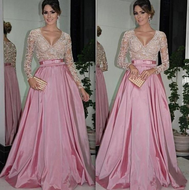 Formal Dress For Women Evening Dresses With Long Sleeves V Neck Beaded Bodice Ruffled Taffeta A Line Ball Gowns Mother Of The Bride Dresses Evening Gowns With Belt Couture Evening Dresses From Andybridal, $136.13| Dhgate.Com