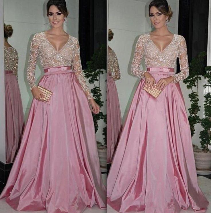 Sexy manches longues dentelle Eevening robe à paillettes dubaï Style une ligne formelle robes de soirée arabes robes robe de soirée(China (Mainland))