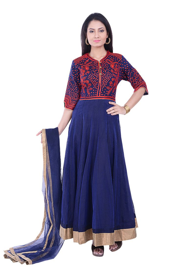 Charm everyone with this beautiful resham embroidered blue cotton suit. The front yoke ,backyoke and sleeves are intricately embroidered with resham threads. The Hemline of the salwar is highlighted with zari border.