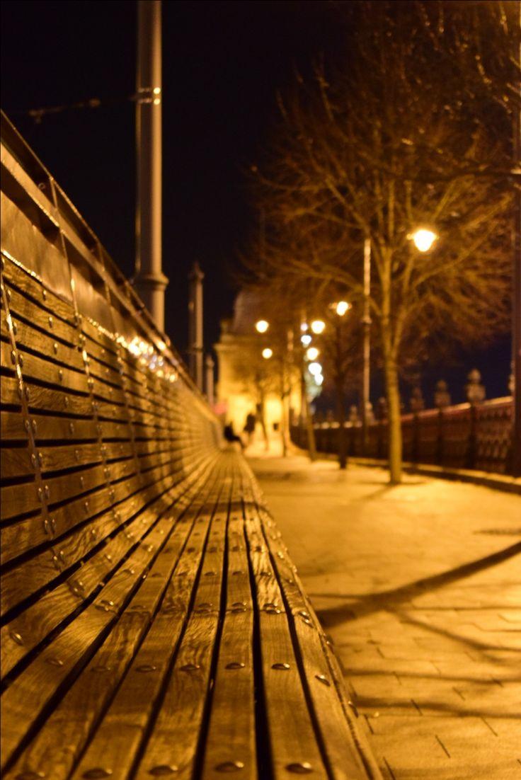 Budapest, Bench, Night