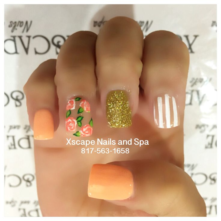 Coral nail designs, spring nails, summer nails, rose nails, flower nails, stripe nails, gold nails, orange nails