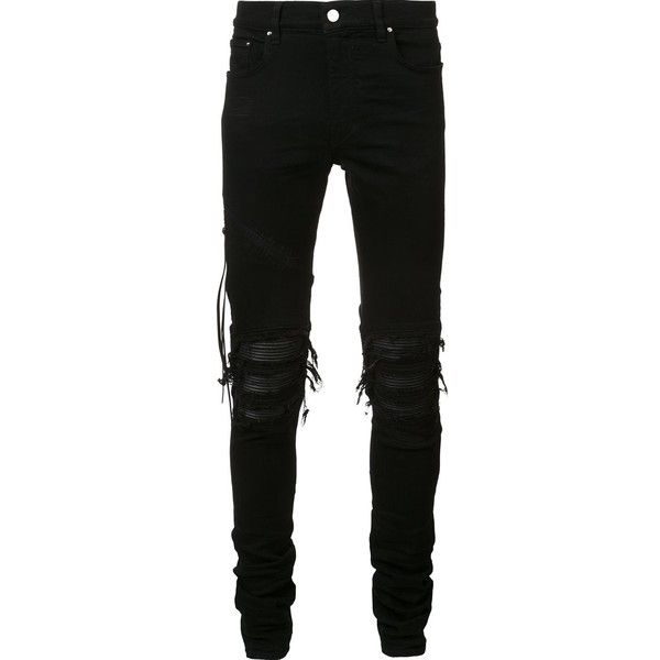 Amiri ripped slim fit jeans ($1,240) ❤ liked on Polyvore featuring men's fashion, men's clothing, men's jeans, pants, jeans, bottoms, male clothes, black, mens distressed jeans and mens ripped jeans