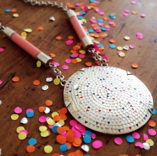 Sun Disk Neckpiece by Maria Natoli  (Sterling silver, vintage knitting needle, paint)