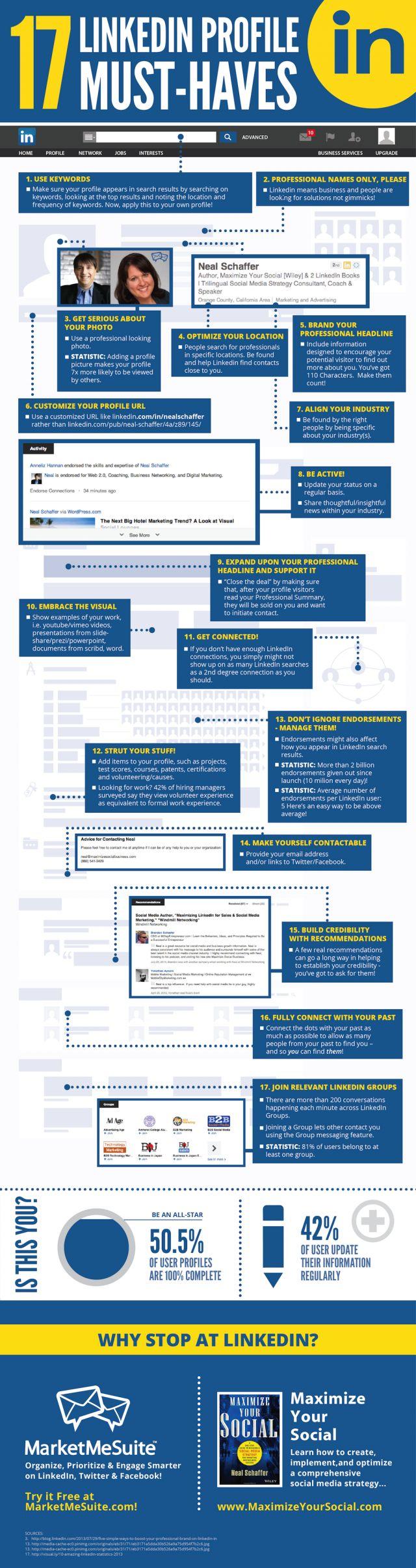 17 LinkedIn Profile Must-Haves #Infographic 17 rzeczy, których nie może zabraknąć na profesjonalnym profilu na #LinkedIn