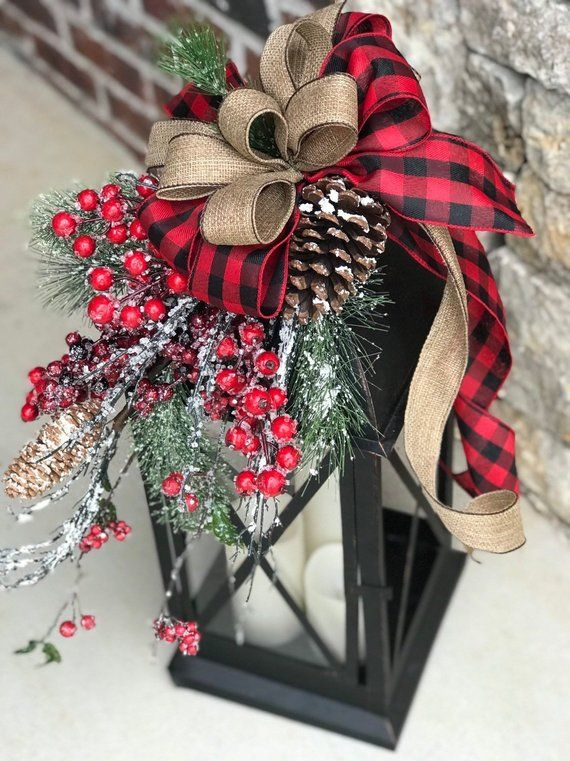 """XL Large christmas lantern swag, winter lantern swag, holiday decor, floral lantern swag, christmas decor, farmhouse, rustic, buffalo The lantern shown is 24"""" tall. I used artificial florals to create the beautiful christmas lantern swag including covered pine branches, pine cones and"""
