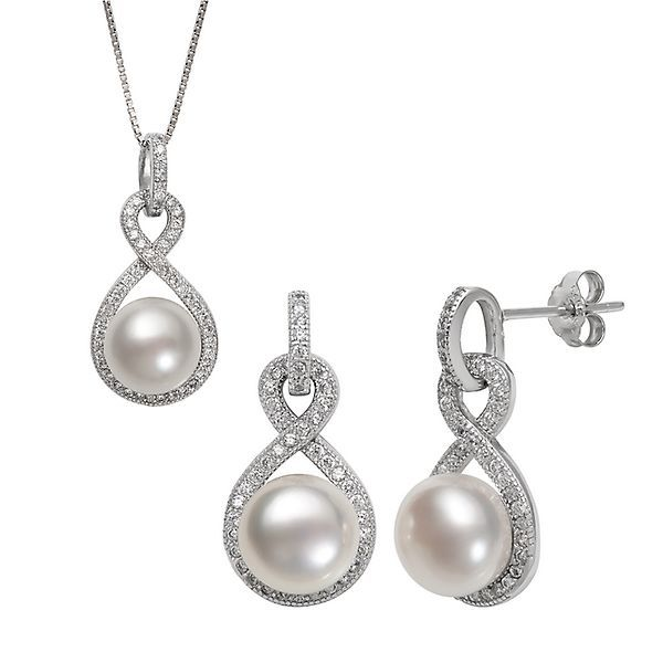 Freshwater Cultured Pearl & White Topaz Pendant & Earring Boxed Set in Sterling Silver