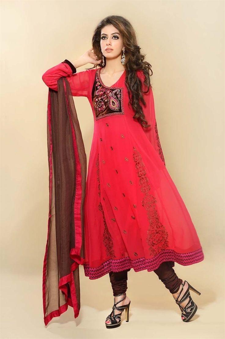 Bright red/coral coloured churidar |
