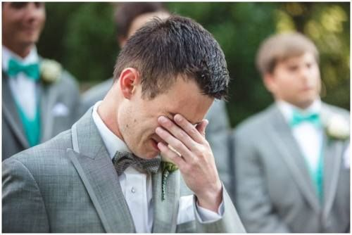 first look 6 Grooms reaction = priceless