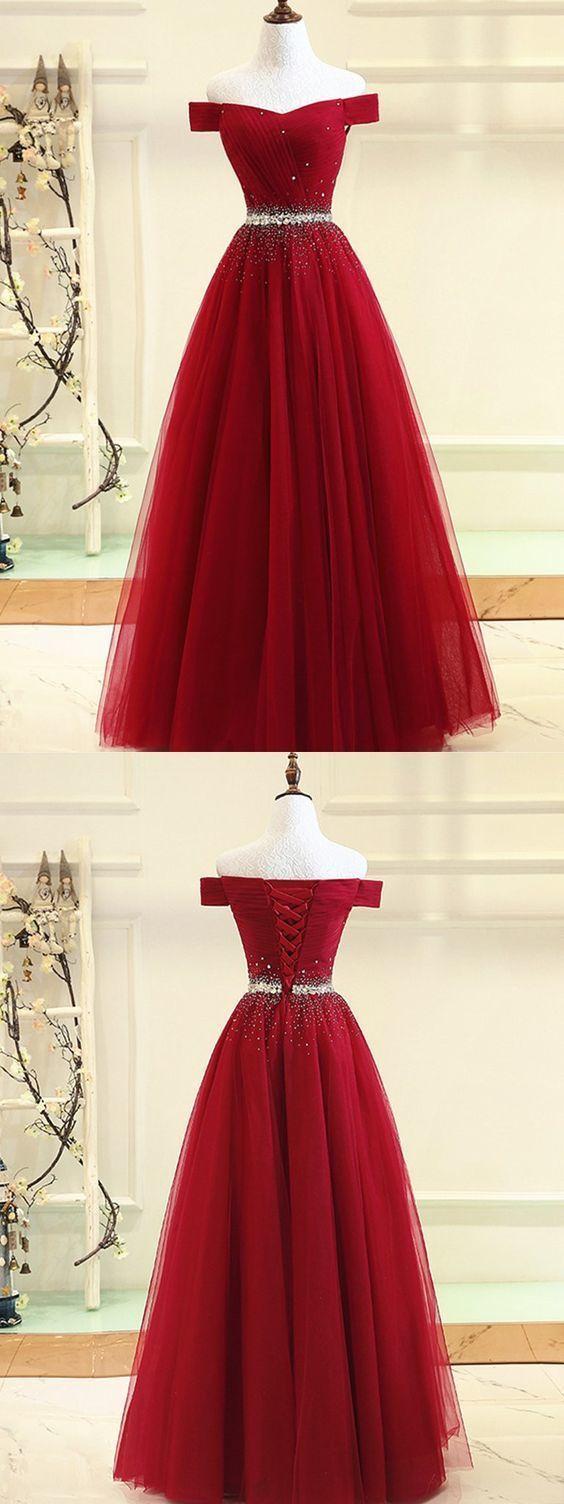 Off shoulder prom dress burgundy formal dress off shoulder evening