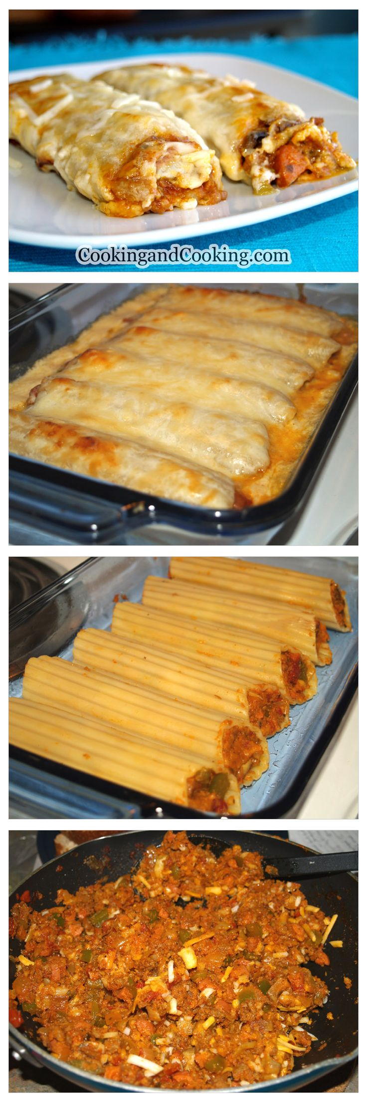Beef Manicotti Recipe _ If you are looking for a delicious stuffed pasta dish, make Beef Manicotti & enjoy. It is a tasty & easy main dish recipe idea. You can use cannelloni instead of manicotti.