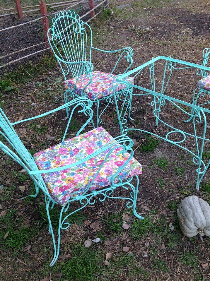 benditosmuebles: Antiguo juego de jardin de hierro forjado , reciclado.