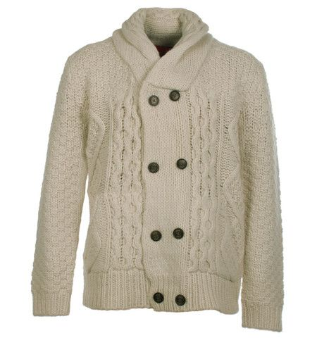 Luke 1977 Champions White Double Breasted Chunky Knitted Cardigan