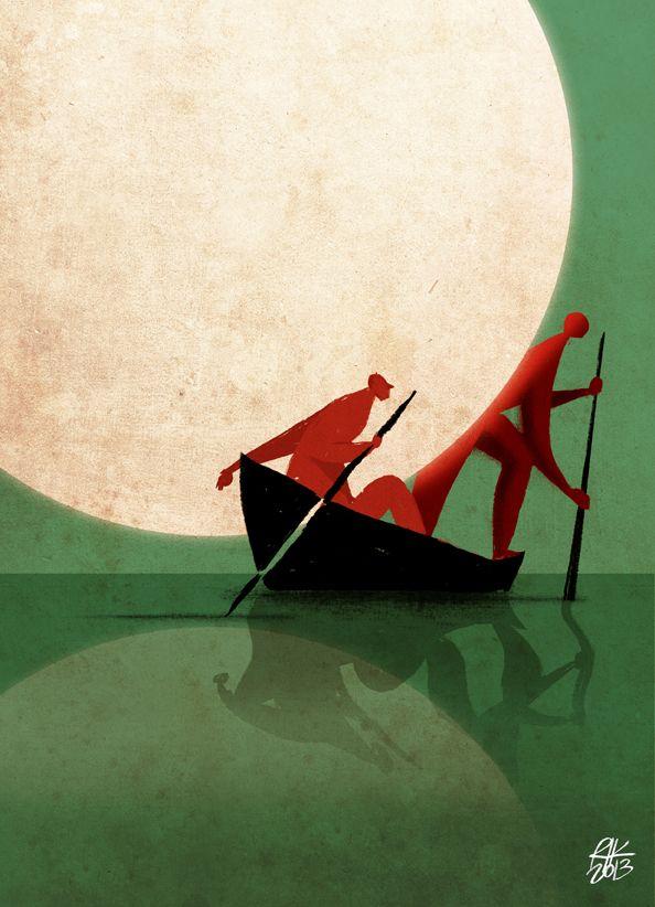 """""""Fino alla fine del fiume, poi sempre diritto"""" Copertina per libro ancora da scrivere. Illustrazione digitale - 2013 - riccardo guasco … lovely ♥"""