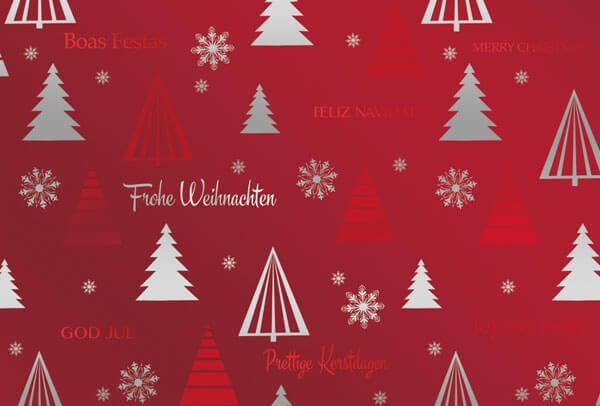 Rote Weihnachtskarten.Weihnachtskarte In Rot Metallic Mit Silber Und Rotfolienprägung