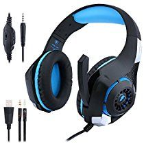 Gaming Headphones PS4 PC, ohCome 3.5MM Gaming Headset with Mic USB Led Light for PlayStation 4 / New Xbox One / Laptop / Tablets / Mac iPhone, Headset Splitter (Black-blue)
