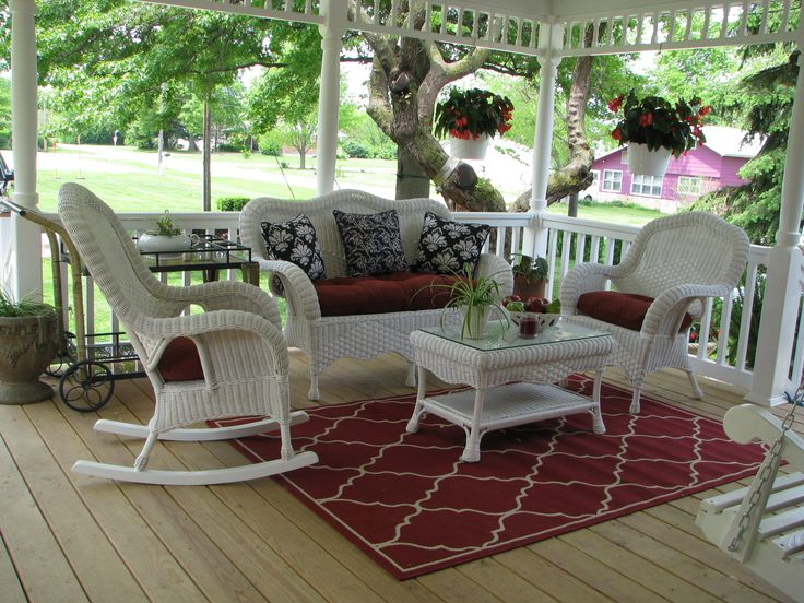 Just Received The Red Cushions Today For My New Wicker Porch Furniture. I  Like The