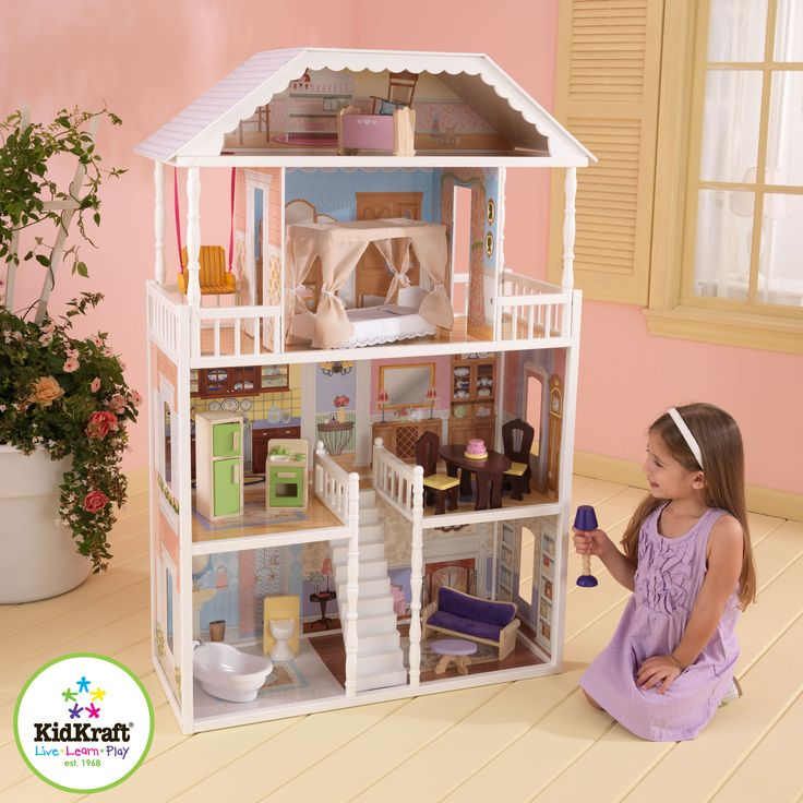 The Savannah Dollhouse is one of our most elegant dollhouses to date. Decorated like a true southern mansion, this gorgeous house is sure to provide girls with hours of fun, imaginative play. Four levels and six rooms of open space