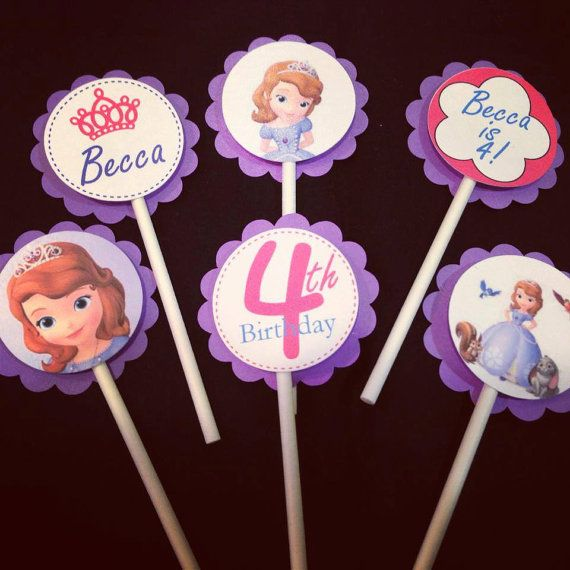 Princess Sofia Cupcake Toppers by BrisNaptimeCrafts on Etsy, $10.00