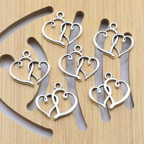15Pcs-Antique-Silver-Tone-Double-Heart-Vintage-Jewellery-Charm-Pendants-DIY