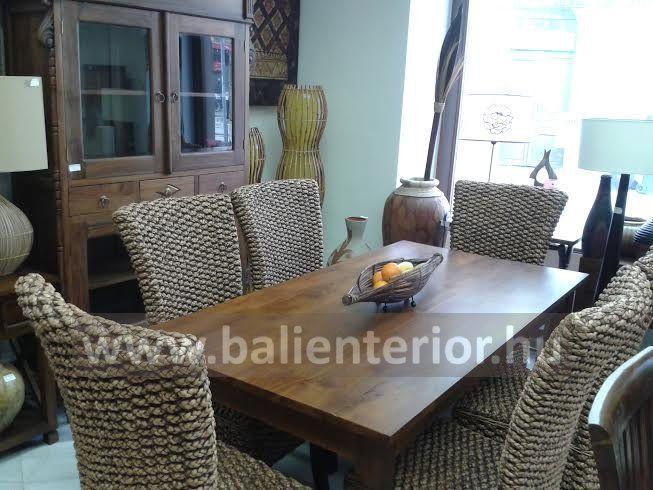 vizijácint étkezőszékek, teakfa étkező asztal, teakfa tálaló vitrin