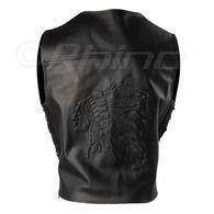 Embossed Leather Vest - Chief Head