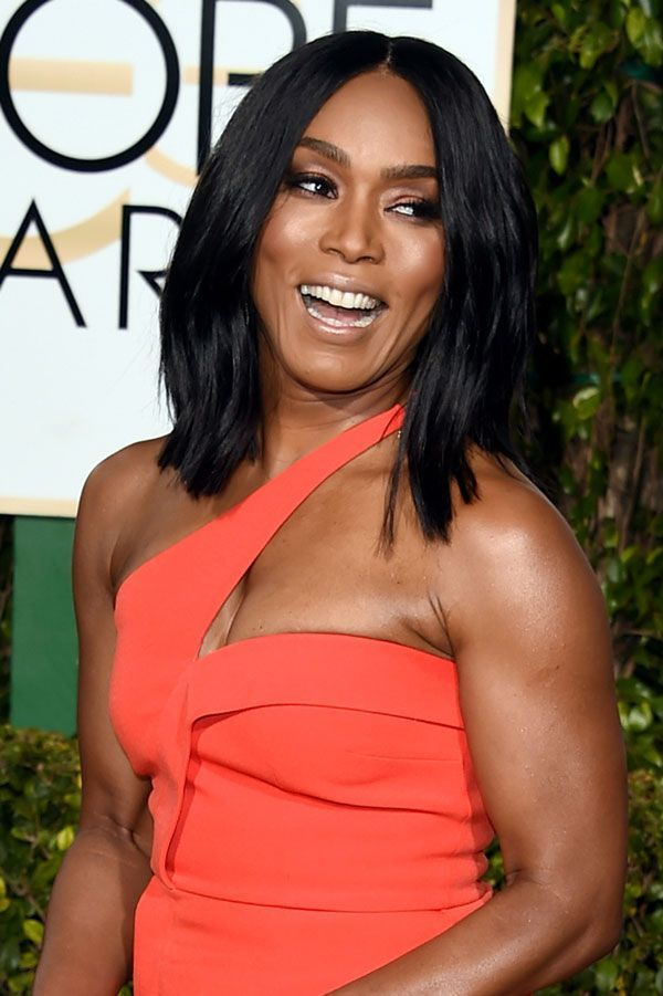 The Best Beauty Looks From The Golden Globes #refinery29  http://www.refinery29.com/2016/01/100905/golden-globes-2016-best-hair-makeup#slide-23  Angela Bassett's radiant makeup look proves that strobing is here to stay, and her locks? You can score that light-reflecting movement with a flat iron and a flick of the wrist. ...
