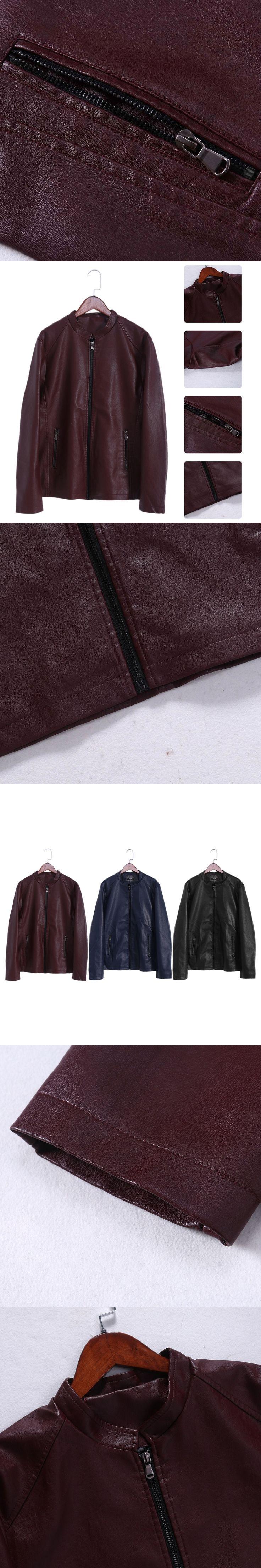 Men's Faux Leather Jacket Stylish Faux PU Leather Motocycle/Biker/Flight Punk Jacket Slim Fit W730