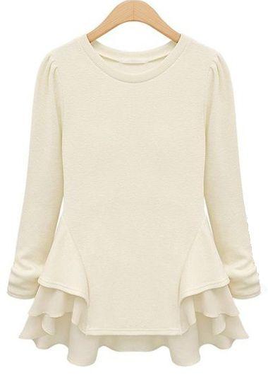 Enchanting Beige Long Sleeve Ruffle Decorated T Shirt | Rosewe.com