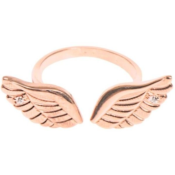 AAMAYA BY PRIYANKA Angel Wings rose-gold plated ring ($131) ❤ liked on Polyvore featuring jewelry, rings, accessories, anillos, aneis, rose gold, sparkle jewelry, aamaya by priyanka, angel wing jewelry and angel wing ring