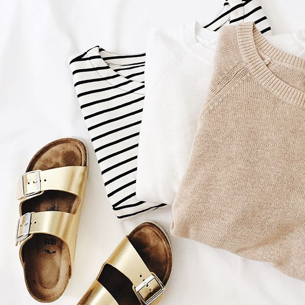 summer sweaters + gold birkenstocks