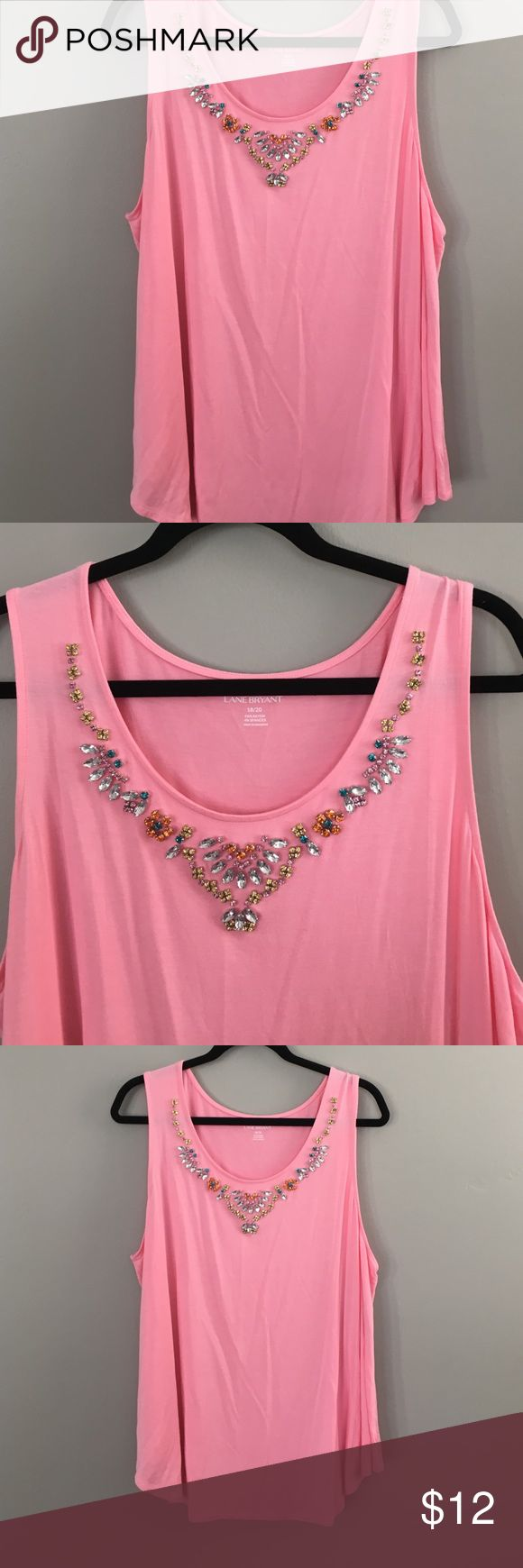 Layne Bryant summer pink shirt Pink summer shirt with rhinestones size 18/20 96 rayon  and 4 spandex Lane Bryant Tops Blouses