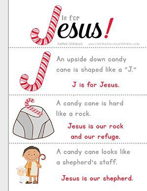 J is for Jesus Candy Cane Bible Lesson for Kids. Free printbles, coloring page and candy cane minibook...great for take home treats for Sunday School
